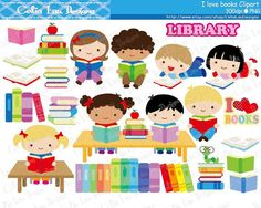 Kids Love Reading Clipart / Book lover / Book by CeliaLauDesigns