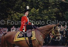 Queen Elizabeth II on Horseback Vintage Color by foundphotogallery