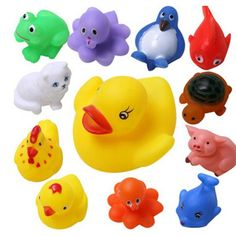 13Pcs Rubber Float Sounding Animals Baby Kids Bath Toys Wash Pool Tub Play Water