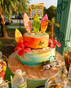 Hawaiian cake at a Teen Beach Movie birthday party! See more party planning ideas at CatchMyParty.com!