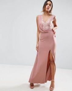 Платье макси в винтажном стиле с драпировкой и кружевом ASOS