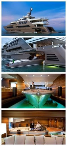 "Mega Yacht with ""drive in garage"" - It's nice to see how the other half live, isn't it?  #playboy #luxury #spon"