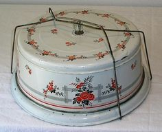 VINTAGE TIN LITHO CAKE CARRIER / SAFE, HALL POPPIES, GLASS KNOB