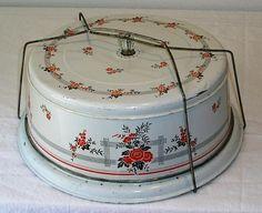 VINTAGE TIN LITHO CAKE CARRIER / SAFE, HALL POPPIES, GLASS KNOB