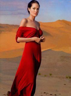 Angelina Jolie in Bill Blass | Photo by Annie Leibovitz