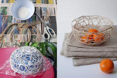 ideias DIY bacia balão corda DIY Bowls artesanato