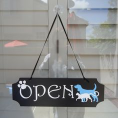 """5""""H x 15.5""""W  Double Sided OPEN CLOSED Sign  for Pet salon, Grooming salon, Animal hospital by customdecalsforu on Etsy https://www.etsy.com/listing/191768219/5h-x-155w-double-sided-open-closed-sign"""
