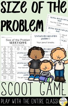 help kids learn size of the problem with this interactive scoot game Social Skills Activities, Teaching Social Skills, Counseling Activities, Social Emotional Learning, Language Activities, Group Activities, Elementary School Counselor, School Counseling, Elementary Schools