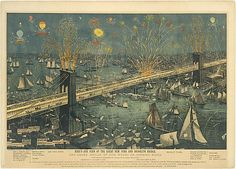 A. Major (New York, NY). Bird's-Eye View of the Great New York and Brooklyn Bridge, and Grand Display of Fireworks on Opening Night...May 24, 1883, 1883. The Metropolitan Museum of Art, New York. The Edward W. C. Arnold Collection of New York Prints, Maps and Pictures, Bequest of Edward W. C. Arnold, 1954 (54.90.709) #newyork #nyc