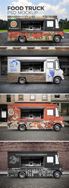For your attantion street food truck mockup. This package is ideal for the presentation of ice cream shop, coffee shop, burger cafe and other street food. Food Truck Design, Food Design, Design Cars, Streetfood Festival, Foodtrucks Ideas, Food Font, Food Truck Business, Business Cards, Truck Cakes