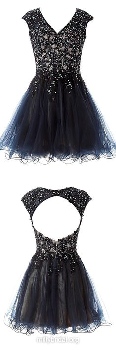 Black Prom Dresses,A-line V-neck Satin Tulle Short Formal Party Gowns,Beading Open Back Cocktail Dress,Nice Short Homecoming Dresses