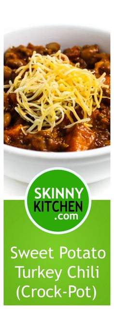 Sweet Potato Turkey Chili (Crock-Pot) It smells amazing while slow cooking in your crock-pot. Each large serving has 311 calories 7g fat and 7 FreeStyle SmartPoints. https://www.skinnykitchen.com/recipes/sweet-potato-turkey-chili-crock-po