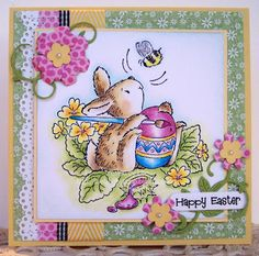 I love this easter card with Penny Black bunny - the sweet and bright colours go so well together.