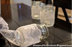Housewife 2 Hostess : CrafterNOON: Lace Mason Jar / So Simple