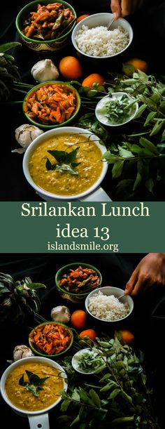"""With easy instructions, you can cook up a healthy meal as well. A dish of rice, dhal curry or as we Srilankans love to call it""""Parippu"""", spicy, tempered carrots, Soya curry and a Cilantro, Cucumber in Yoghurt salad"""