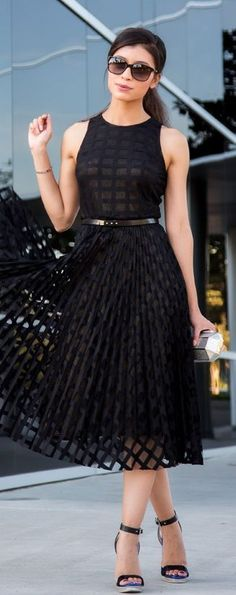 Latest fashion trends: Street style | Chic sheer textured black dress with tiny belt