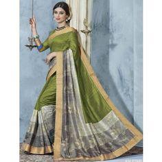 Bhagalpuri Silk Green Printed Saree - 7882108