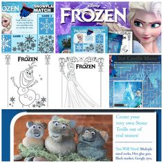 #Disney Frozen free printable activities.  Activities include making a stone trolls craft out of real stones, Frozen maze, snowflake match game, Anna and Elsa coloring sheets as well as Olaf!