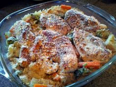 "One Dish Chicken and Rice Bake! 3.33 stars, 9 reviews. ""good!"" @allthecooks #recipe #chicken #easy #rice #quick #bake"