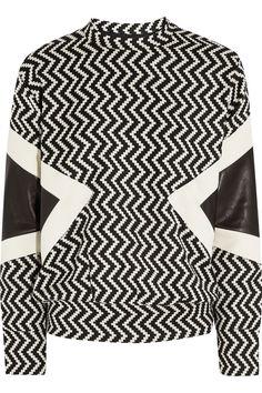 Neil Barrett Leather-Paneled Zigzag Wool-Blend Sweater, $1,420; net-a-porter.com