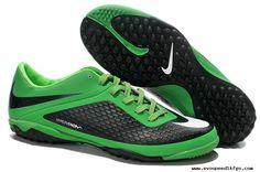 New Nike Hypervenom Phelon TF Boots Black/Green 2013 Soccer Cleats