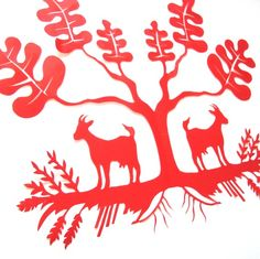Two Goats Paper Cutting by jennyleefowler on Etsy, $125.00