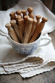 clothes pins in a tea cup   A Place in the Country