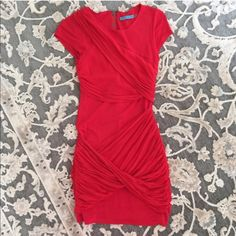Alice + Olivia red silk body con dress 4 S Alice + Olivia red viscose lines dressed with silk chiffon overlay.  Flattering body conscious fit.  Good used condition.  Freshly dry cleaned and ready to wear.  Size 4 fits like a Small...  Too small for me so can't model.  $385 Retail. Alice + Olivia Dresses Mini