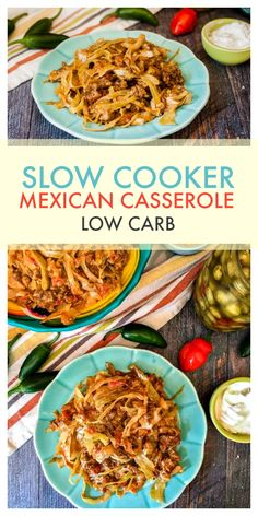 Slow Cooker Low Carb Mexican Casserole - a cheesy, creamy and spicy Mexican casserole that's low in carb and only needs 6 ingredients.