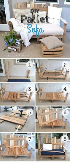 An easy tutorial for an easy to build DIY sofa from pallet wood DIY Home Decor I Pallet Furniture Build decor DIY Easy Home Pallet Sofá tutorial Wood Diy Pallet Sofa, Diy Sofa, Diy Pallet Furniture, Furniture Ideas, Outdoor Furniture, Pallet Diy Decor, Rustic Furniture, Decor Diy, Diy Pallet Patio Furniture