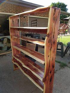 Live edge wood bookshelf