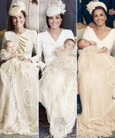 From left to right Kate Middleton holding Prince George, Princess Charlotte, and Prince Louis on the day each was christened Princesa Diana, Princesa Charlotte, Looks Kate Middleton, Estilo Kate Middleton, Baby Prince, Prince And Princess, Prince Harry, Principe William Y Kate, Herzogin Von Cambridge