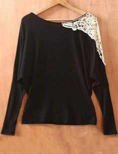 DIY Black Long Sleeve Shoulder Lace Embroidery  Sweater
