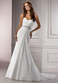 modern a-line Sweetheart Court Train Ruching chiffon Wedding Dress picture 1