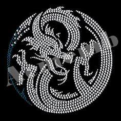 Asia Dragon Animal Rhinestone Transfers New Custom Design
