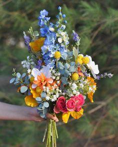 Silk Bridal Bouquet, Bride Bouquets, Flower Bouquet Wedding, Bridal Flowers, Bridesmaid Bouquet, Summer Wedding Flowers, Wild Flower Wedding, Wildflower Bridal Bouquets, Colourful Wedding Flowers
