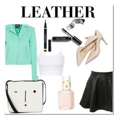 """LEATHER CALLAB WITH @PEACELOVEYAY"" by meemeect18 ❤ liked on Polyvore featuring Pilot, McQ by Alexander McQueen, Lulu Guinness, Essie, Topshop, Yves Saint Laurent and Bobbi Brown Cosmetics"