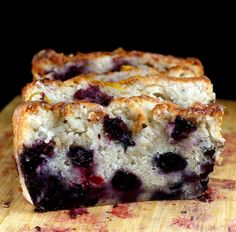 Super Moist Smashed Blueberry Lemon Loaf Cake (or Quick Bread) made with Nonfat Greek Yogurt. This cake was 95% fat free!