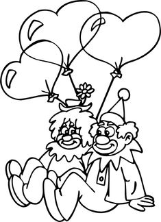 Clown Coloring Pages | In Love Clowns valentines coloring pages
