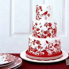 Red and white wedding cake by penny