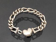 Vintage Sterling Silver Heart Link Chain by wandajewelry2013