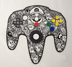 Possibly no filling or patterns to it, just the outline. Wire leading to a Super Mario coin box? Nintendo 64, Nintendo Controller, Modern Tattoos, Gaming Tattoo, The Legend Of Zelda, Metroid, Vintage Games, My Escape, Video Game Art