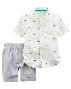 Baby Boy 2-Piece Sunglasses Button-Front & Striped Short Set from Carters.com. Shop clothing & accessories from a trusted name in kids, toddlers, and baby clothes.