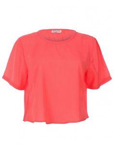Womens Orange Short Sleeved Basic Short Casual Crepe Shirt