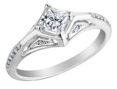 Princess Cut Diamond Engagement Ring 2/3 Carat (ctw) in 18K White Gold (SI1-SI2) (Certified)