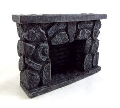 Wundervoll Details About Dolls House Miniature 1:12 Scale Furniture Resin Grey Stone  Fieldstone Fireplace