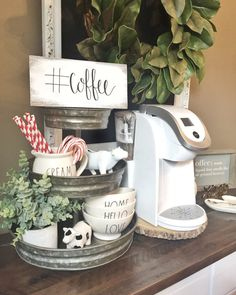 Hashtag Coffee Coffee Station Sign  How adorable is this little coffee station sign! It adds the perfect touch of Farmhouse to your home! I have stained, painted and hand written #coffee in my calligraphy in black ink. Measures 4 1/2 x 9 1/2  ***Can be customized *** Coffee Station Kitchen, Coffee Bar Home, Home Coffee Stations, Coffee Corner, Coffe Bar, Cozy Coffee, Coffee Girl, Sunday Coffee, Coffee Drawing