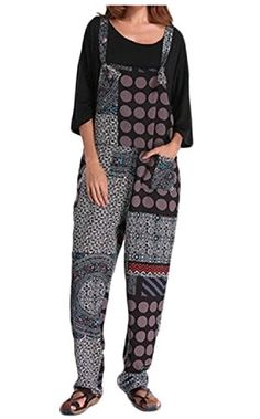 3ae9ad248b75 Polka Dot Print Patchwork Pocket Loose Jumpsuit For Women