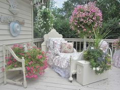 Bed frame added to an outdoor chaise (from Junk Chic Cottage)  via Kristin Smith