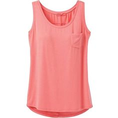Prana Women's Foundation Scoop Neck Tank Top ($39) ❤ liked on Polyvore featuring tops, summer peach, red tank, v-neck tank, pocket tanks, prana tank and v-neck tops